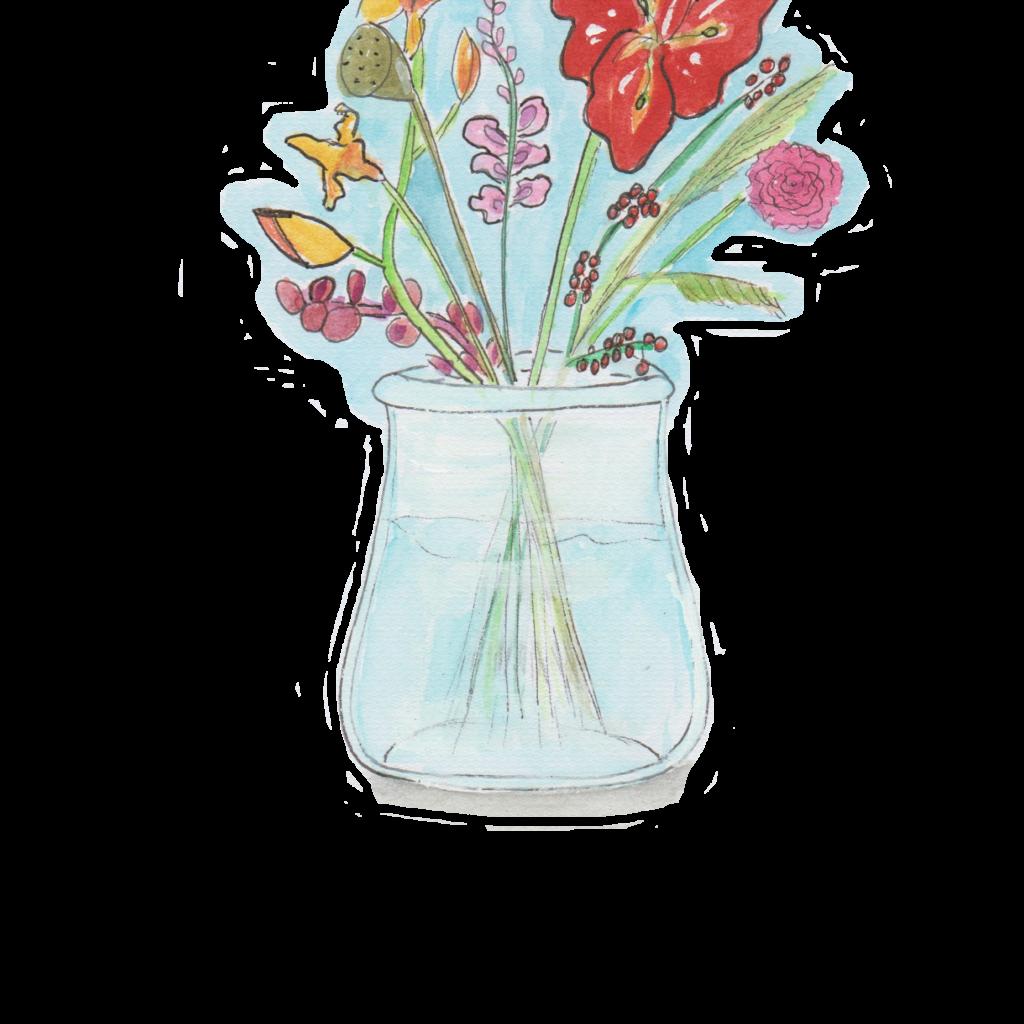 Bloemen in vaas roze los