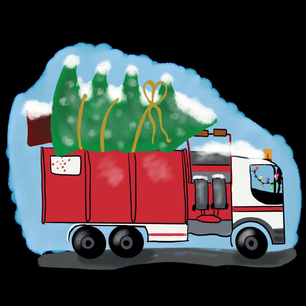 Omrin_Afvalverwerker_Met_Kerstboom m lampjes