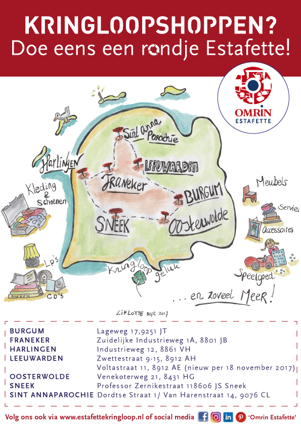 Liflotte Poster rondje-Estafette-Friesland-Illustratie 10-2017