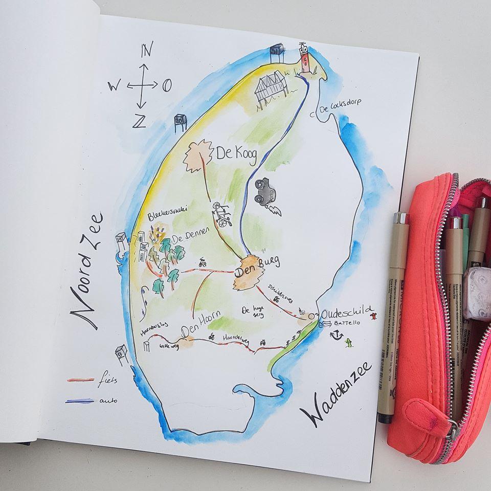 Vakantie illustratie Texel plattegrond 2018