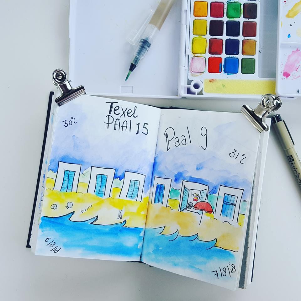 Vakantie illustratie Texel strandhuisjes 2018