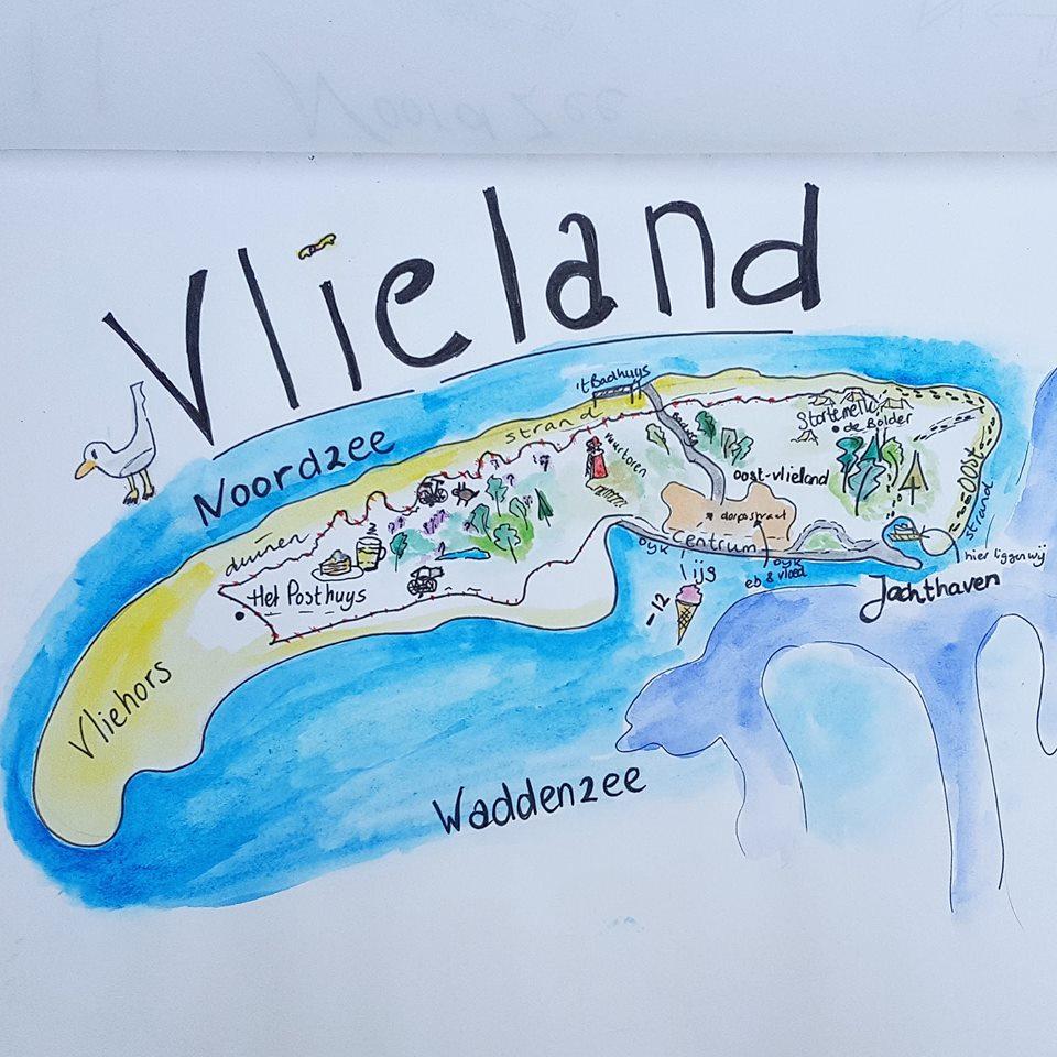 Vakantie illustratie Vlieland plattegrond 2018