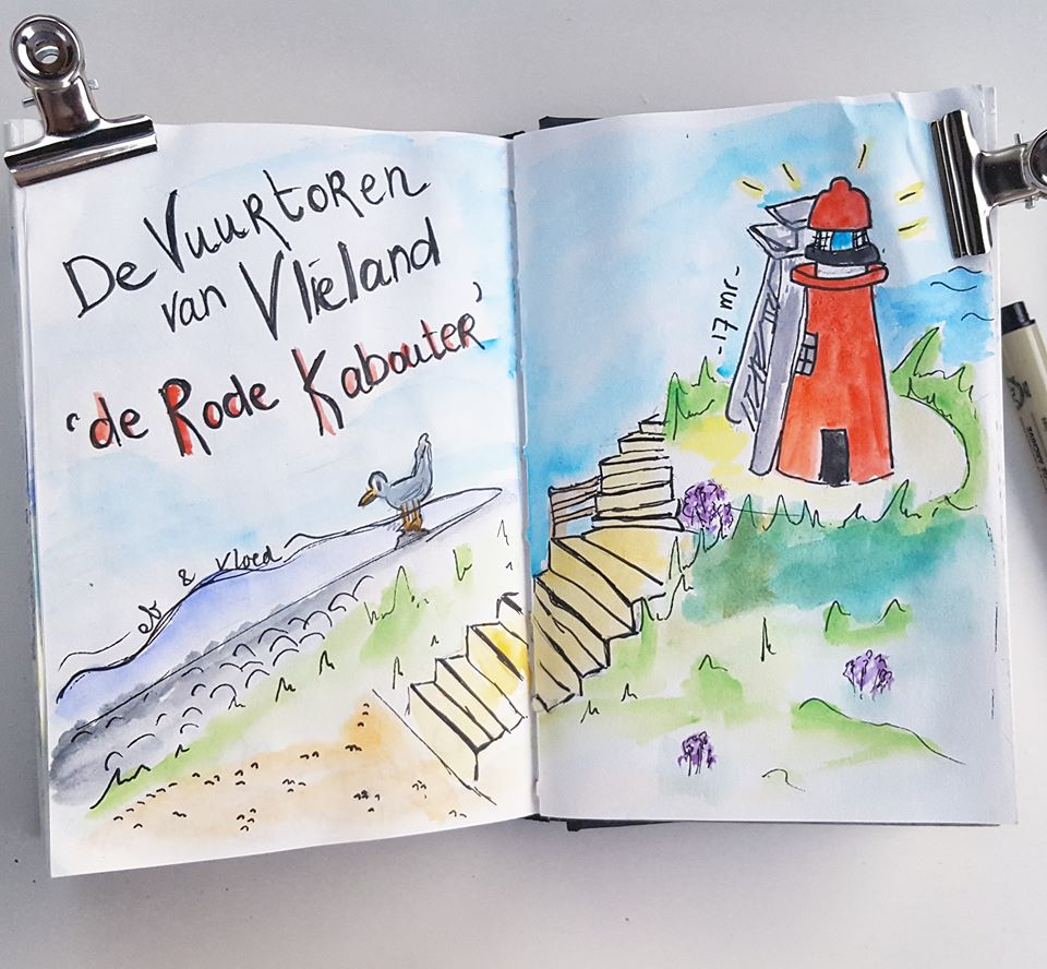 Vakantiie illustratie vuurtoren Vlieland 2018
