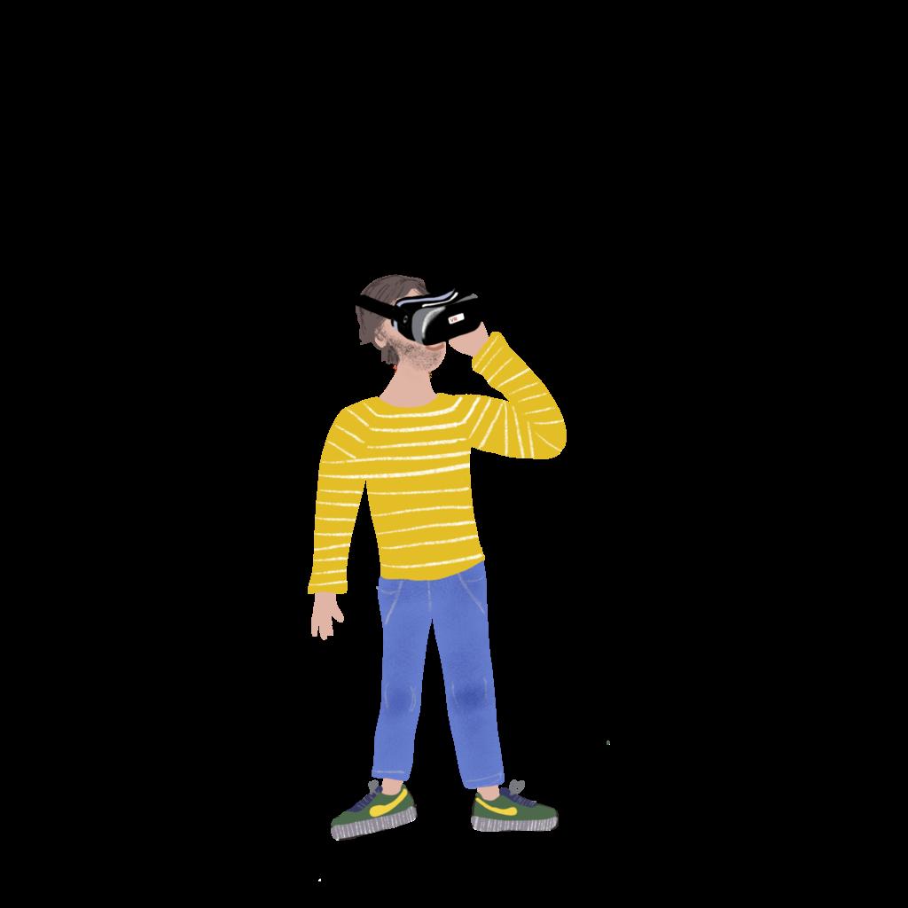 Liflotte_Man_Met_VR_Bril geel